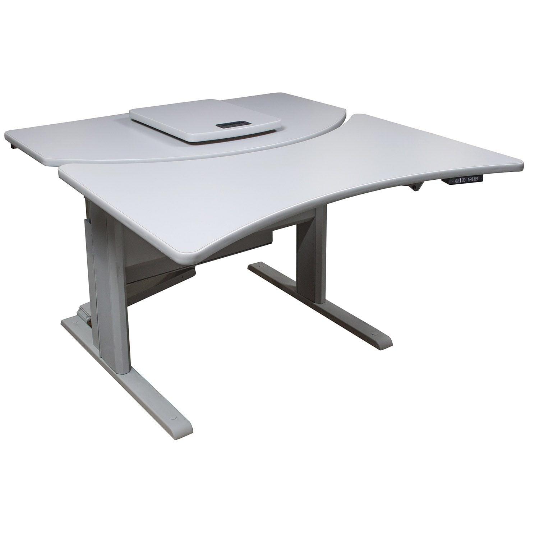 Lightweight Desk: Bramic Sit Stand Electric Desk, Light Gray