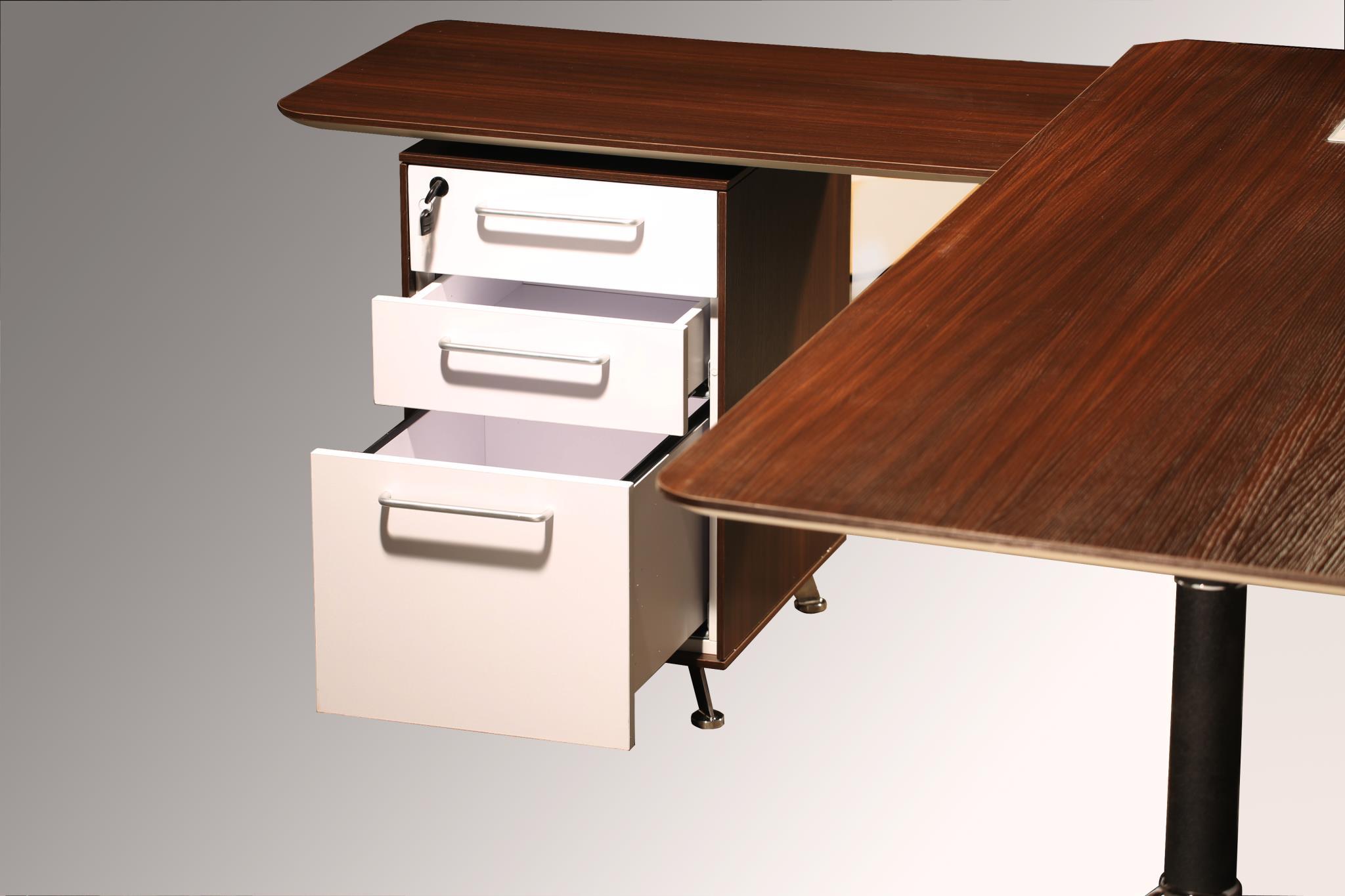 Morgan director left return melamine l shape desk teak national office interiors and liquidators - Teak office desk ...
