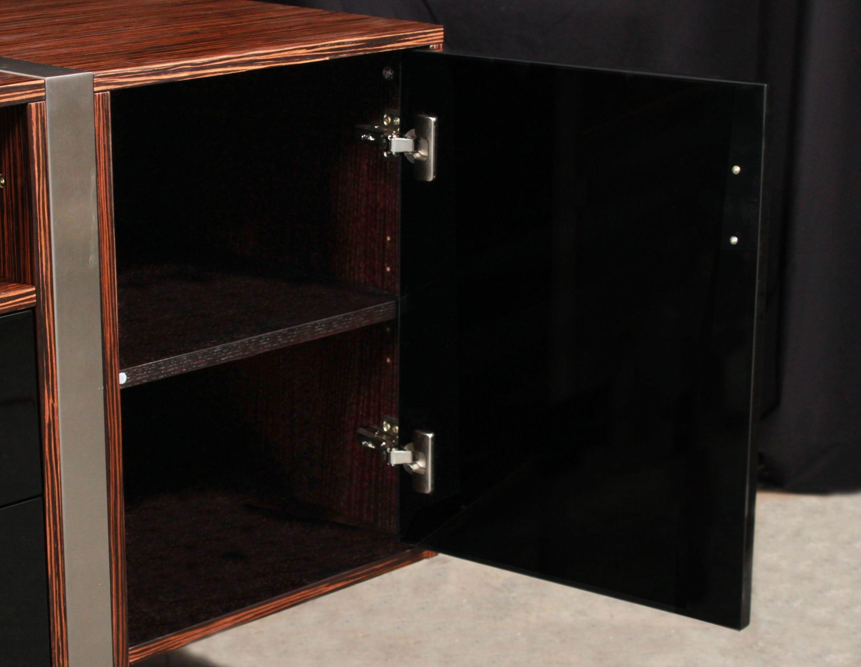 Modern ebony veneer storage credenza new national for Modern office credenza