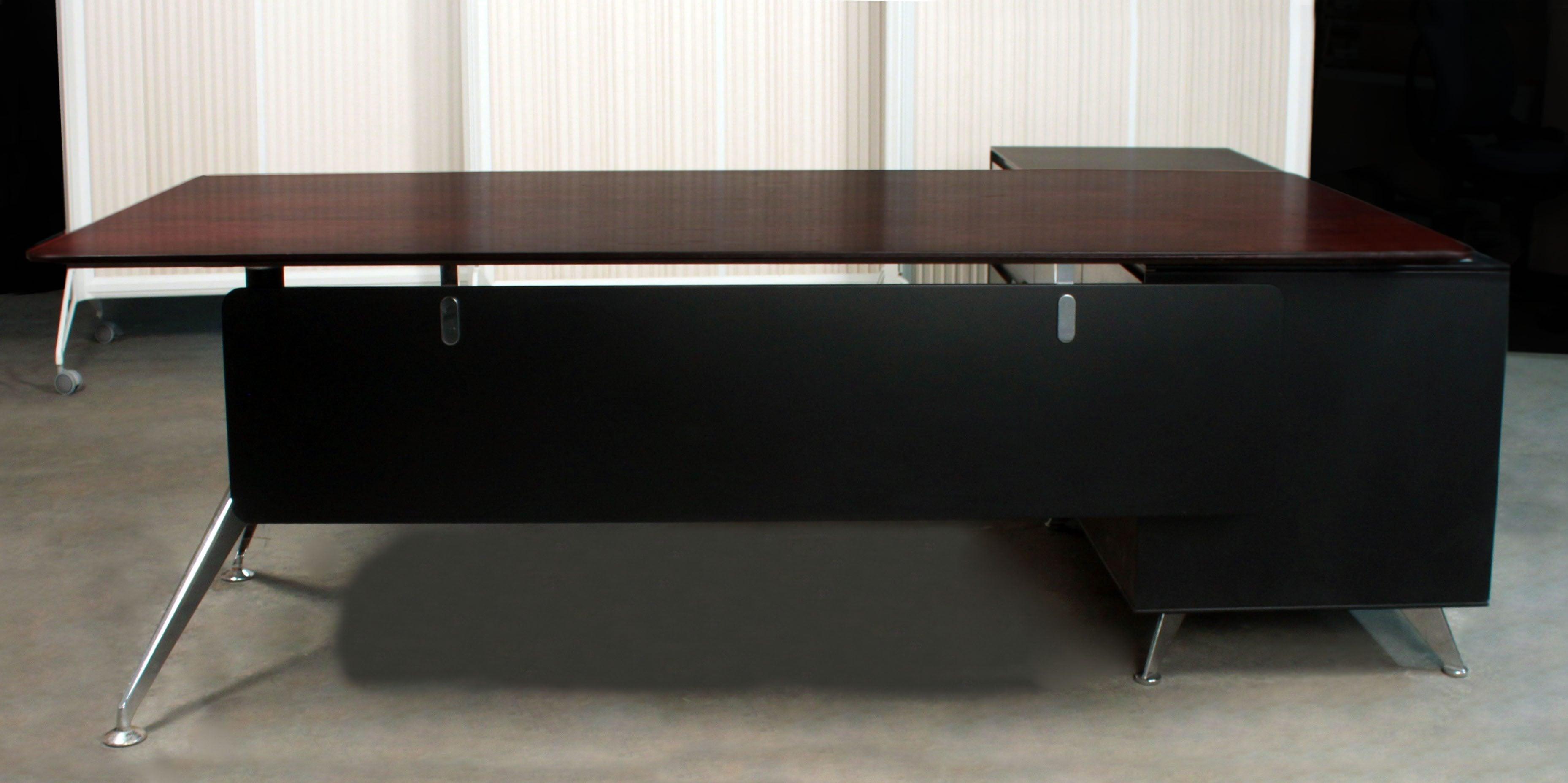 Modern Executive L Shape Desk Right Return Dark Walnut