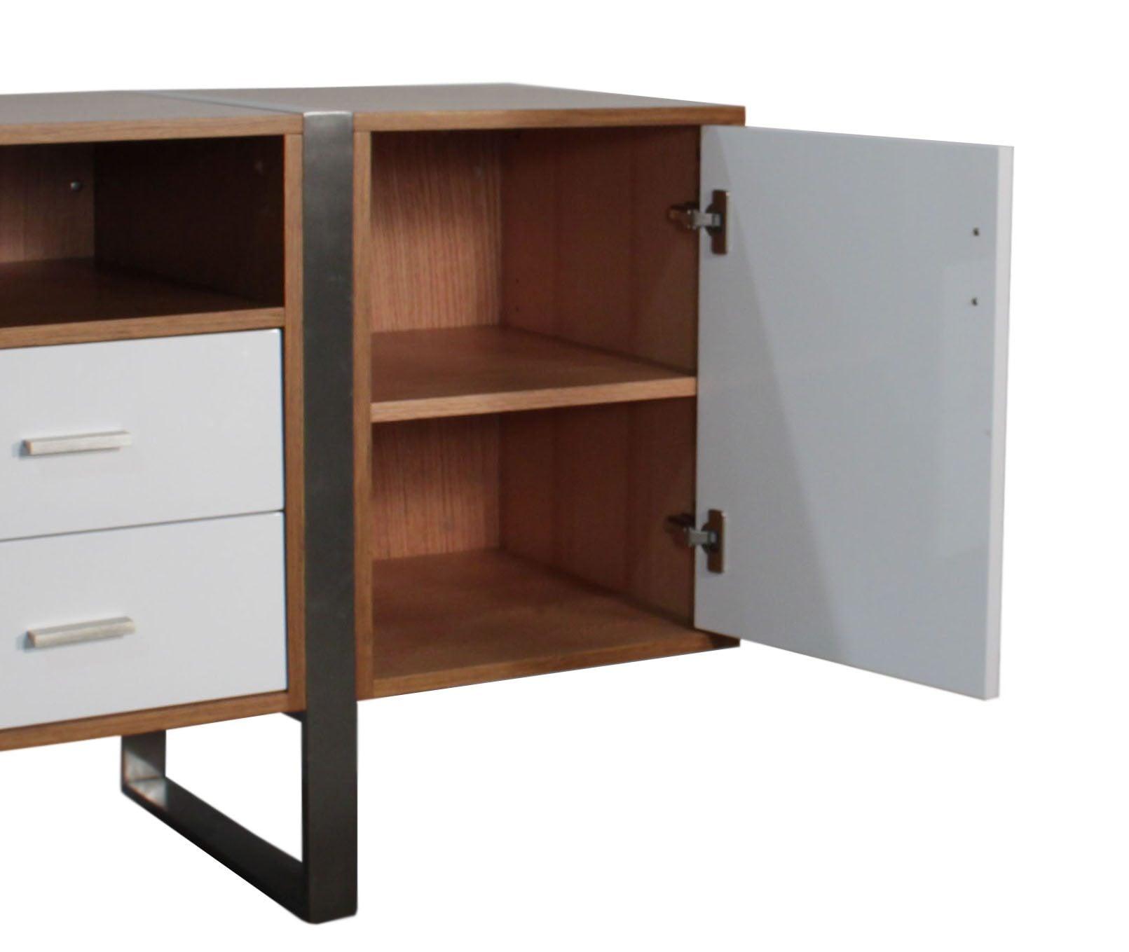 Modern teak veneer storage credenza new national office for Modern office credenza