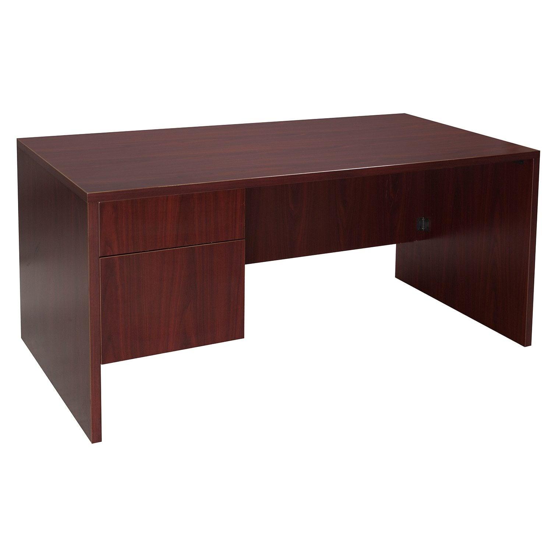 Single Pedestal Used Desk Laminate Mahogany