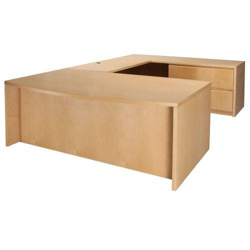Wood 72 Inch Right Return U Shape Desk Maple
