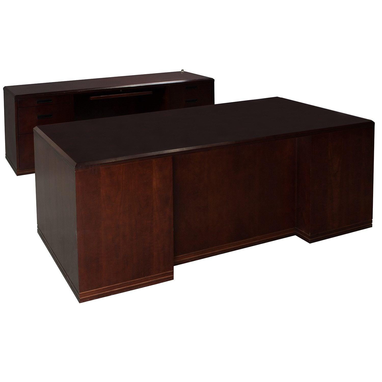 Paoli Used Desk Set Mahogany National Office Interiors