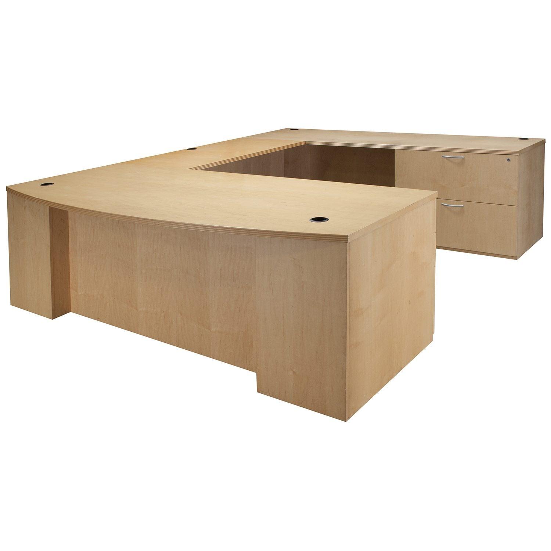 Very Impressive portraiture of Home / Desks / Used Desks / Wood 84 Inch Right Return U Shape Desk  with #906E3B color and 1500x1500 pixels