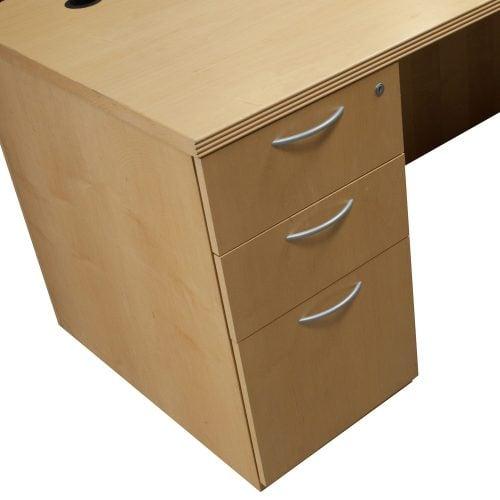Wood 84 Inch Right Return U Shape Desk Maple