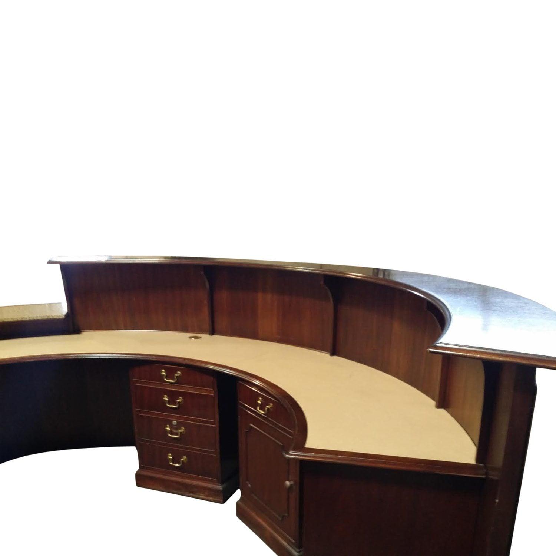 Traditional Custom 11 Foot Round Reception Desk Walnut