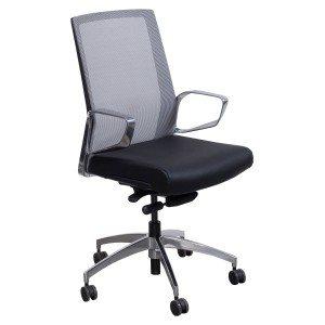 goSIT-Modern-Mid Back-Leather Mesh Chair-Gray Black-01