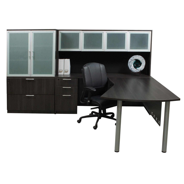 Everyday modern left return laminate l shape desk gray national office interiors and liquidators - Gray office desk ...