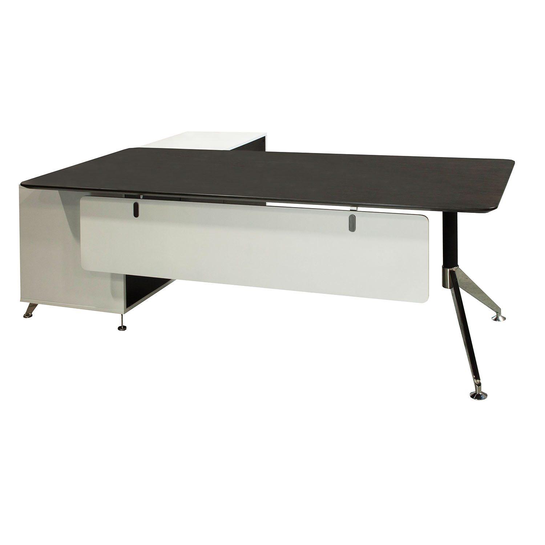 Morgan executive right return veneer l shape desk gray and matte white national office - Gray office desk ...