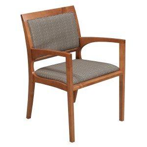 Bernhardt-Black Brown Triangle Pattern-Wood SIde Chair-001
