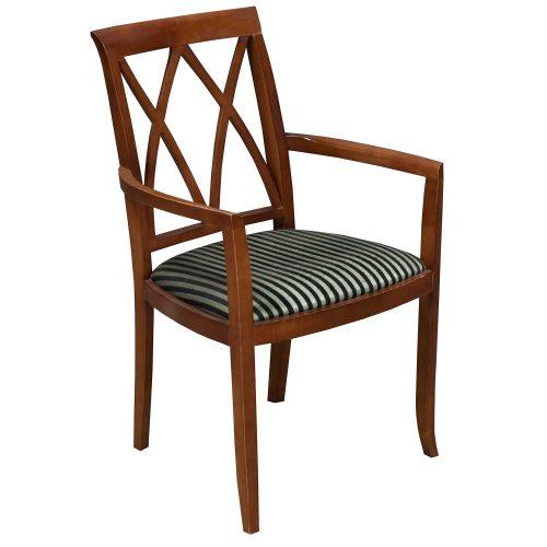 Bernhardt-Wood Side Chair-Black Stripe-001