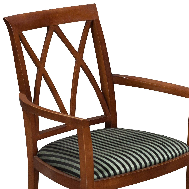 Bernhardt-Wood Side Chair-Black Stripe-004