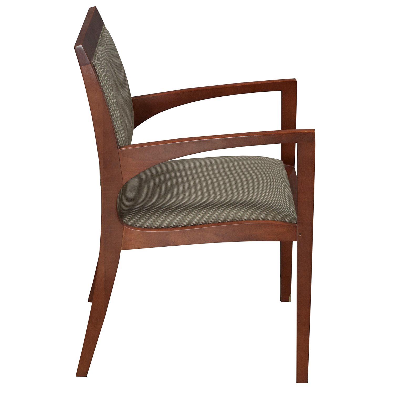 Bernhardt Used Wood Side Chair Dark Green Tan Pattern