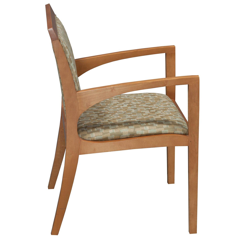 bernhardt used wood side chair tan green pattern