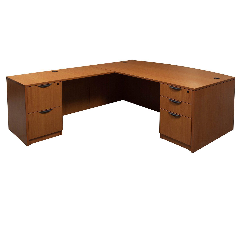 Laminate Used Left Return Fan Top L Shape Desk Cherry