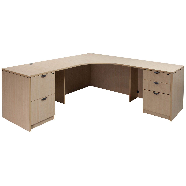 Laminate Used Corner Desk L Shape Maple National Office