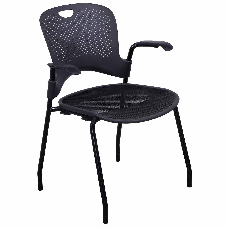 herman miller caper used stack chair dark gray  national office  - herman miller caper