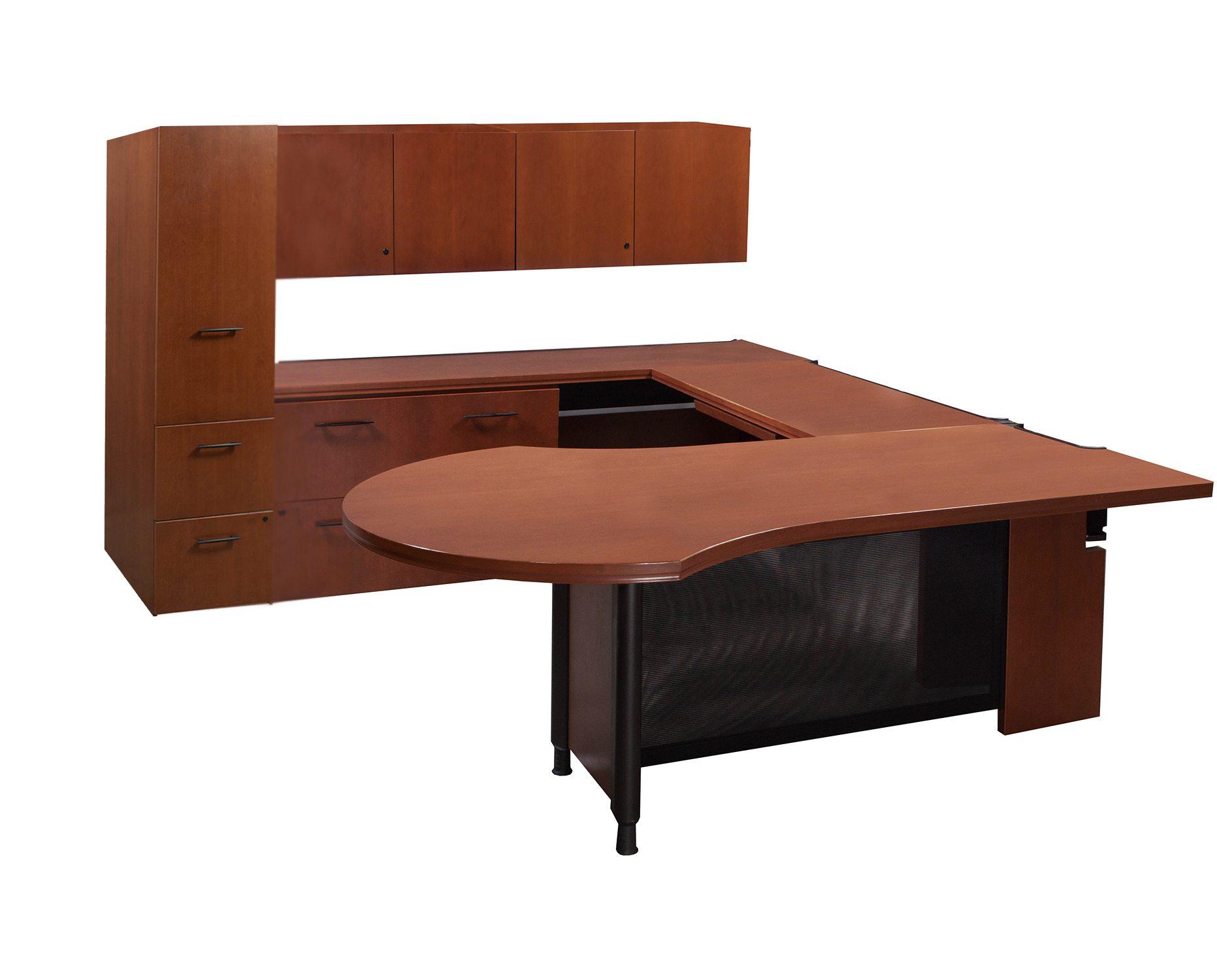 Desk With Return : Haworth used left return veneer u shape desk cherry