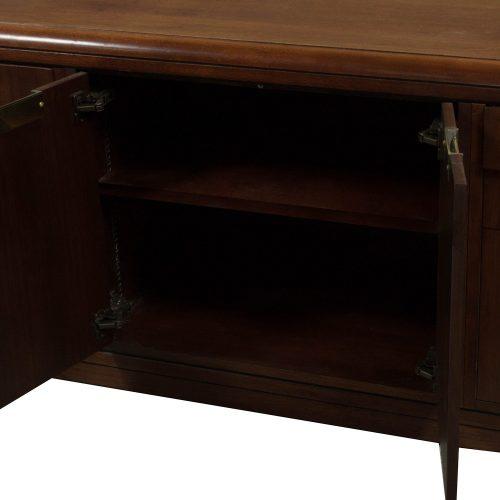 Jofco Used Veneer Double Pedestal Desk With Credenza, Walnut