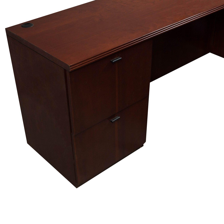 Kimball used veneer left return u shape desk mahogany national office interiors and liquidators - Kimball office desk ...
