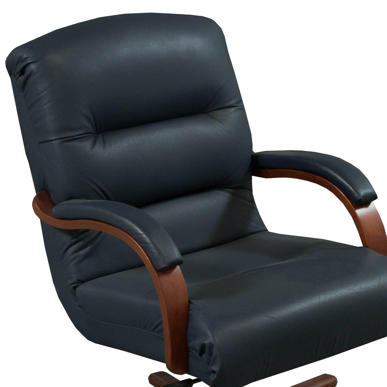 La Z Boy Horizon Used Mid Back Wood Leather Conference