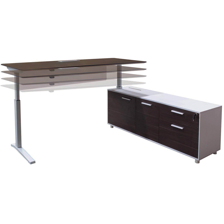 Denmark Lifting Manager Desk Right Return American Walnut