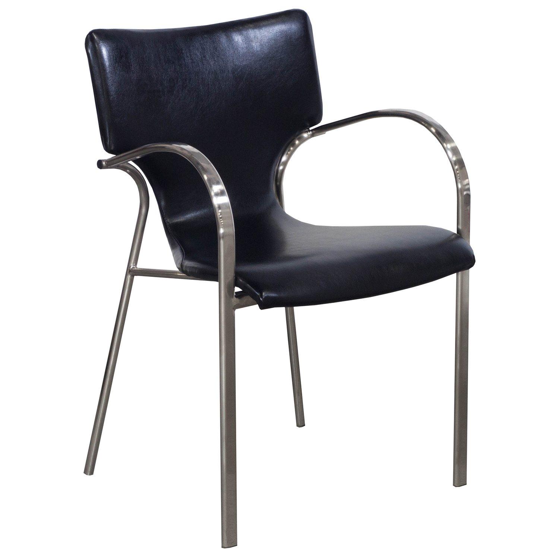 Bernhardt Strada Used Leather Stack Chair Black