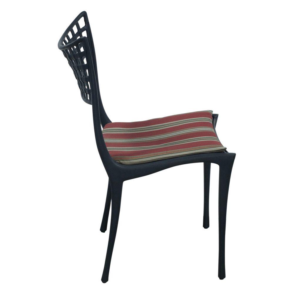 Brown Jordan Used Black Metal Outdoor Chair Red Stripe
