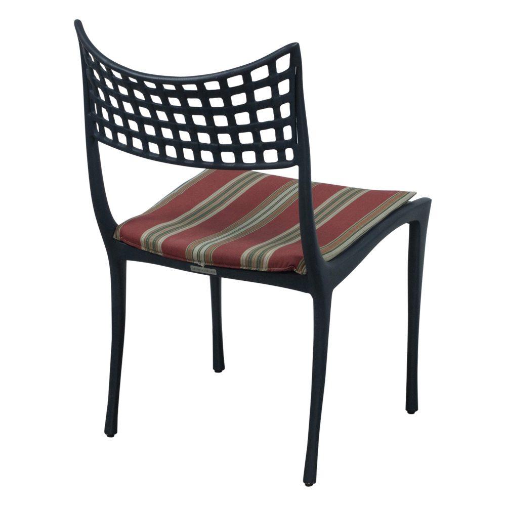 Brown Jordan Used Black Metal Outdoor Chair, Red Stripe ...