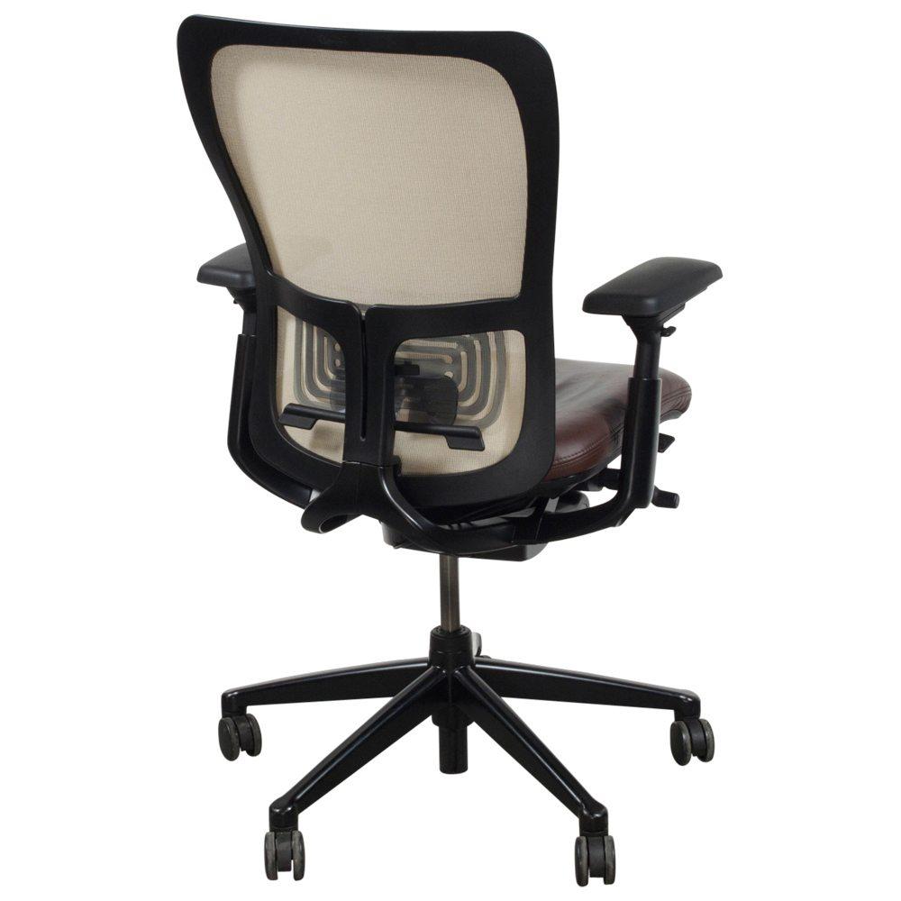 haworth zody creme mesh back used task chair brown