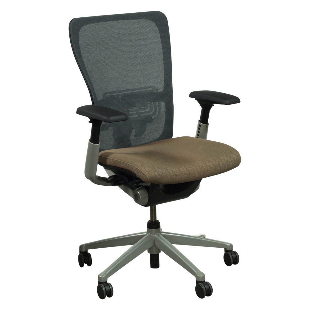 Haworth Zody Gray Mesh Back Used Task Chair Tan Seat