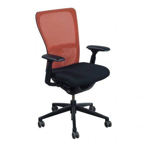 haworth zody used orange back task chair black seat