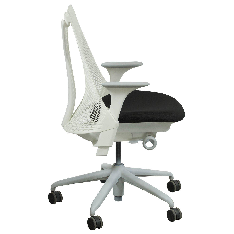 herman miller sayl used white back task chair black seat. Black Bedroom Furniture Sets. Home Design Ideas