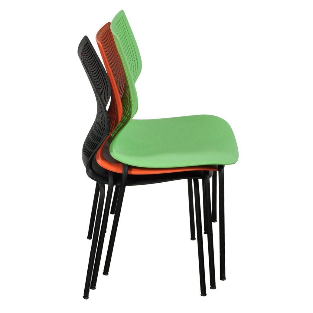 Used Metal Frame Plastic Stack Chair Black National