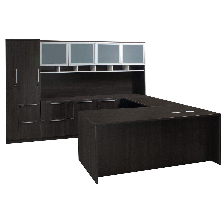 Denmark executive u shape left return desk set gray national office interiors and liquidators - Gray office desk ...