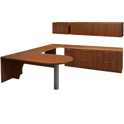 Gunlocke Medley Used Veneer U Desk Right Return Medium Cherry
