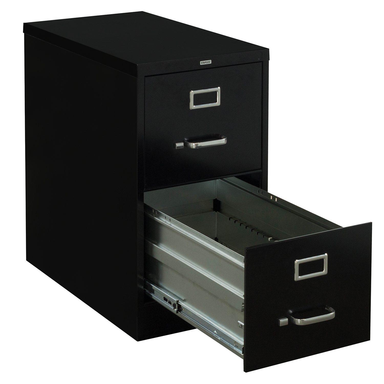 Staples Used Letter Sized 2 Drawer Vertical File Black