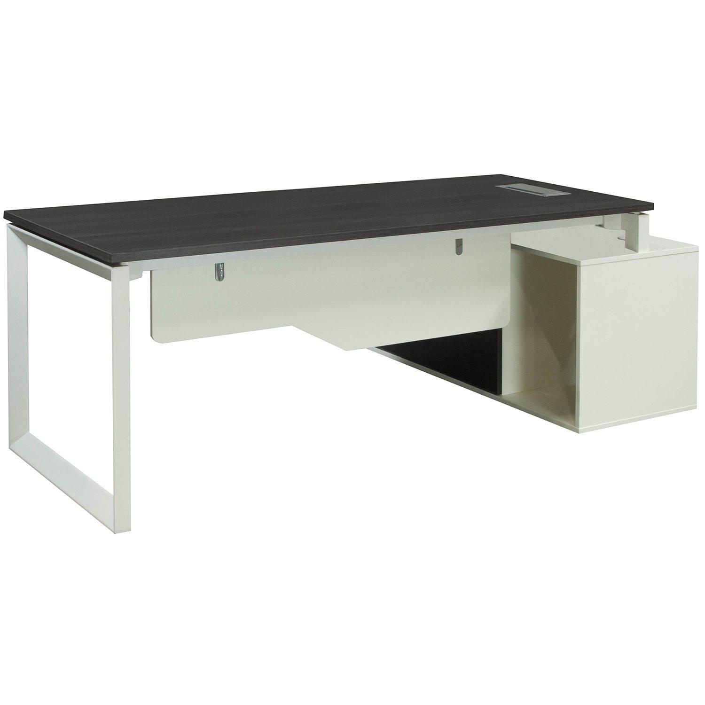 Morgan left return melamine l shape desk gray and white national office interiors and liquidators - Gray office desk ...