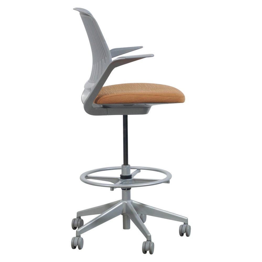 Steelcase Cobi Used Gray Mesh Stool Orange Seat