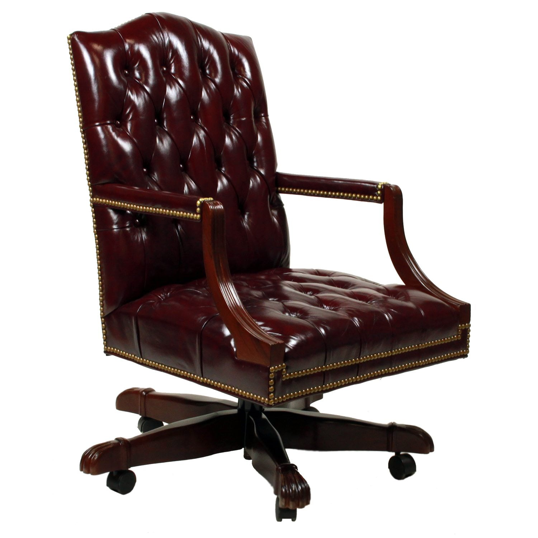Cabot Wrenn Graham Used Tufted Leather Task Chair Glazed