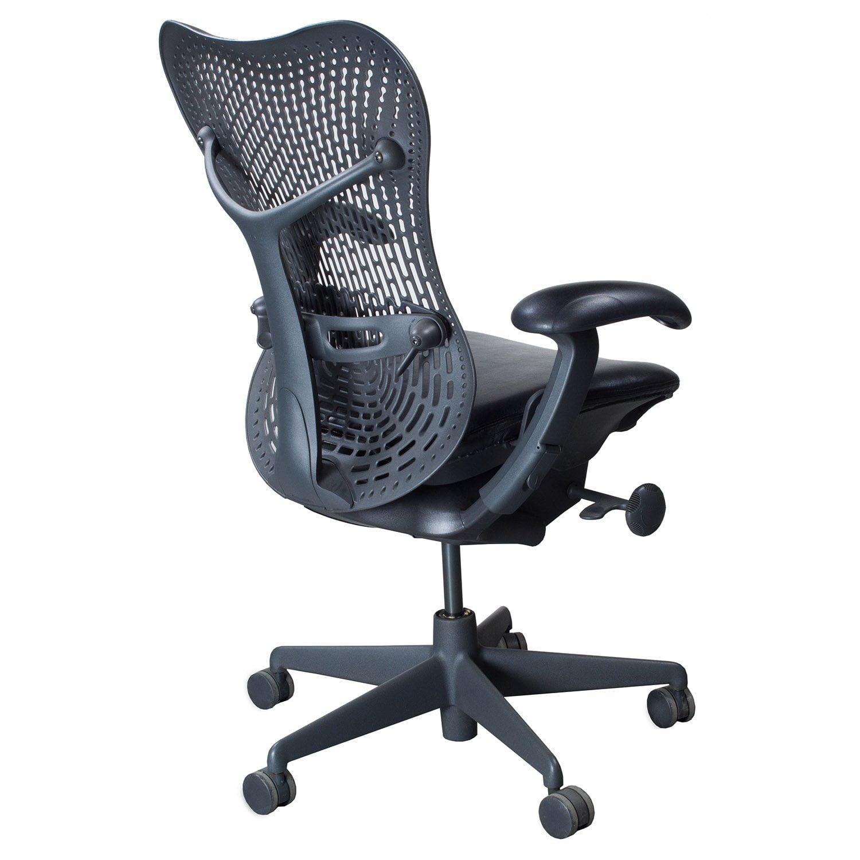 herman miller mirra used leather seat task chair black national