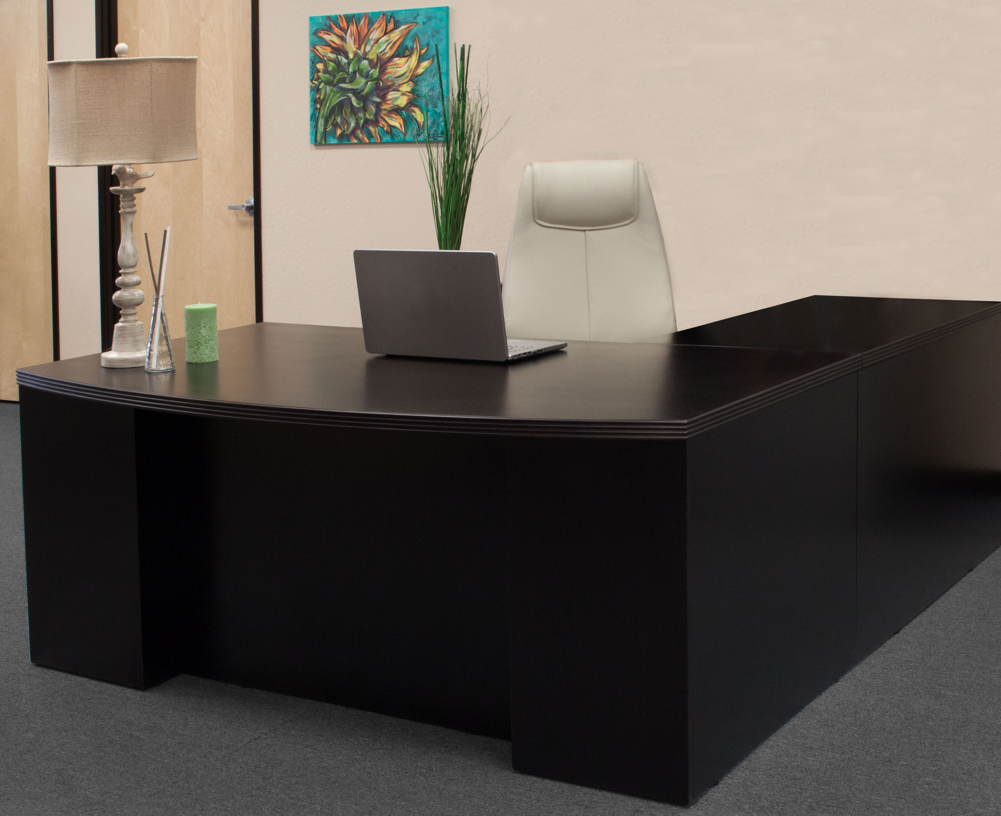 Hollywood New Left Return Espresso Inlay Executive L Shape Desk - National Office Interiors and ...