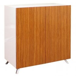 Louis 32 inch Veneer Storage Cabinet with Legs White and Zebra