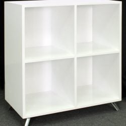 Louis Quad Shelved Veneer Bookcase with Legs White