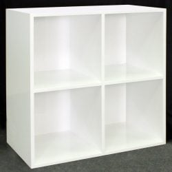Louis Quad Shelved Veneer Bookcase White