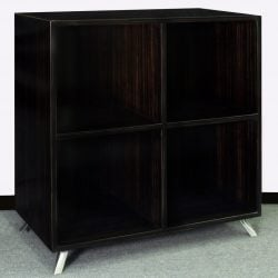 Louis Quad Shelved Veneer Bookcase with Legs Black