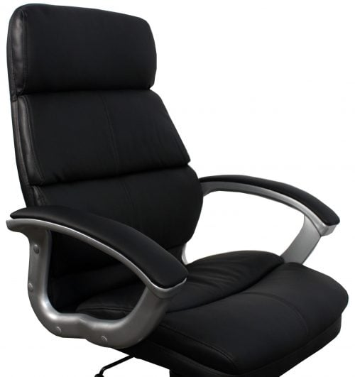 Inside Job New Leather Executive Chair Black Front View Close Up of Arms and Back