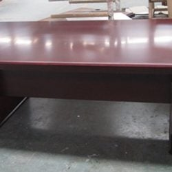 Associate Series Wood 14 x 4 Foot Conference Table Mahogany Side View