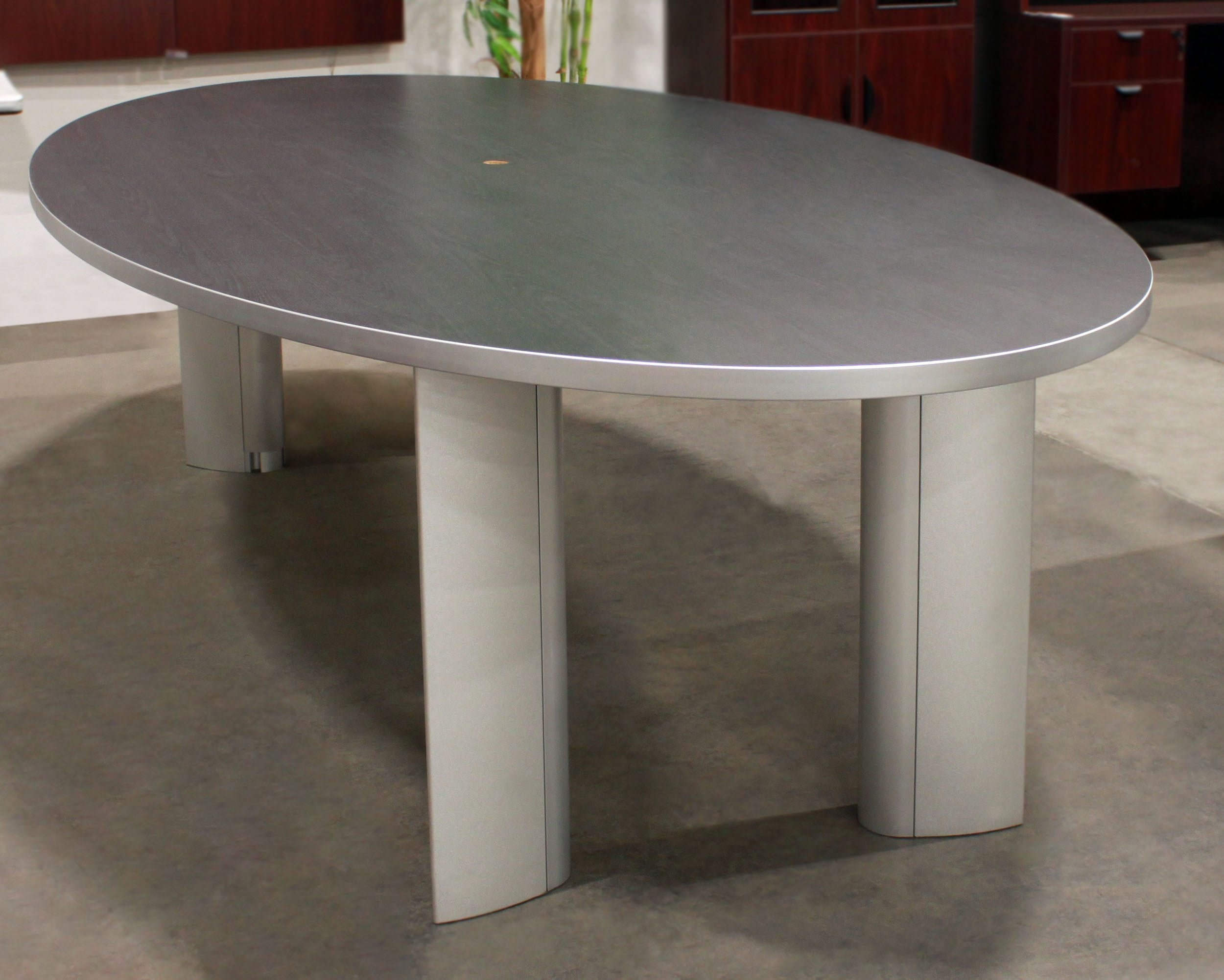 Gray Used Laminate Oval Conference Table National Office
